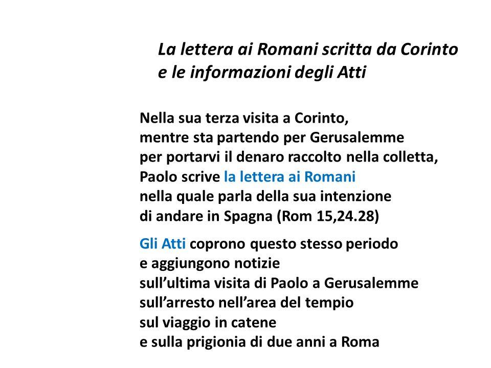 La lettera ai Romani scritta da Corinto e le informazioni degli Atti Nella sua terza visita a Corinto, mentre sta partendo per Gerusalemme per portarv