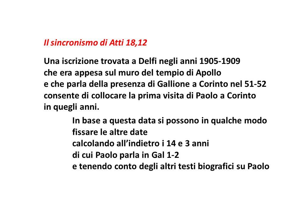 Il sincronismo di Atti 18,12 Una iscrizione trovata a Delfi negli anni 1905-1909 che era appesa sul muro del tempio di Apollo e che parla della presen