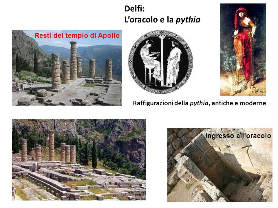 Delfi: Loracolo e la pythia Ingresso alloracolo Raffigurazioni della pythia, antiche e moderne Resti del tempio di Apollo