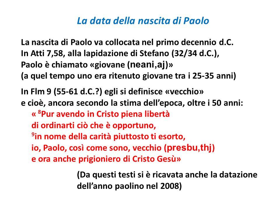 La data della nascita di Paolo La nascita di Paolo va collocata nel primo decennio d.C. In Atti 7,58, alla lapidazione di Stefano (32/34 d.C.), Paolo