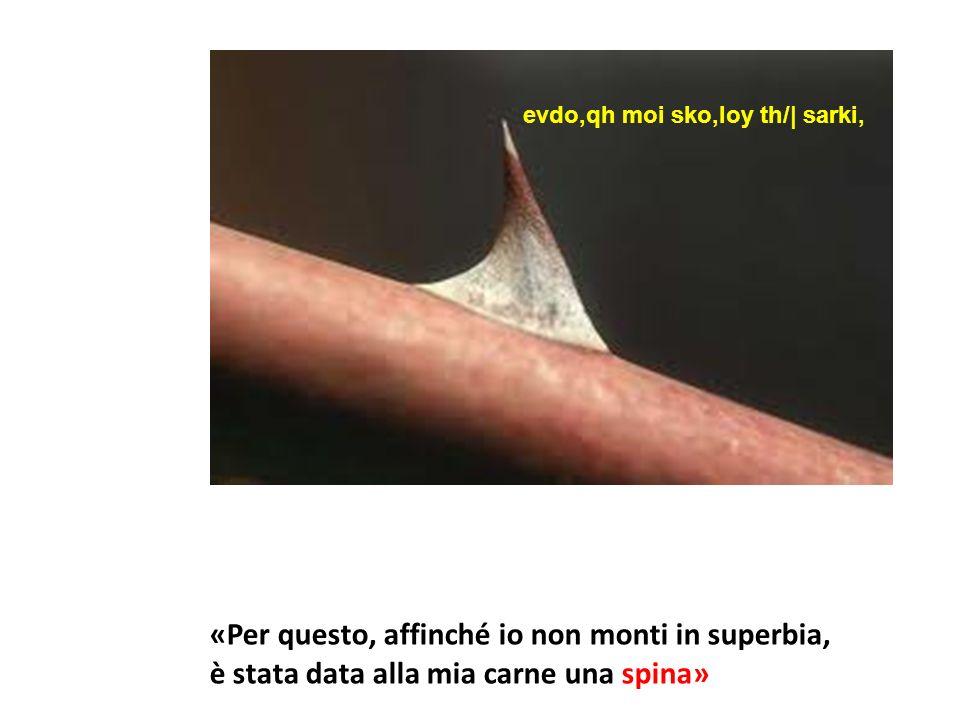 evdo,qh moi sko,loy th/| sarki, «Per questo, affinché io non monti in superbia, è stata data alla mia carne una spina»
