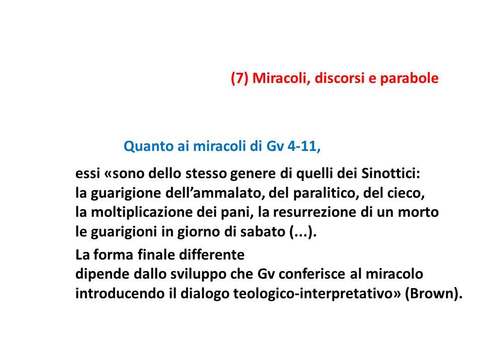 Quanto ai miracoli di Gv 4-11, essi «sono dello stesso genere di quelli dei Sinottici: la guarigione dellammalato, del paralitico, del cieco, la molti