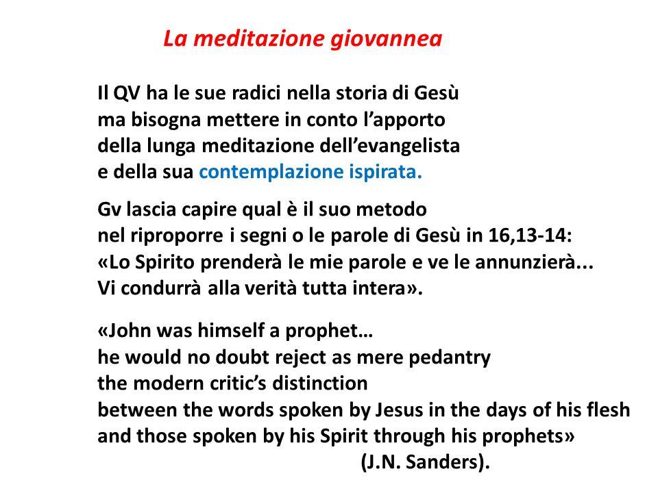 La meditazione giovannea Il QV ha le sue radici nella storia di Gesù ma bisogna mettere in conto lapporto della lunga meditazione dellevangelista e de