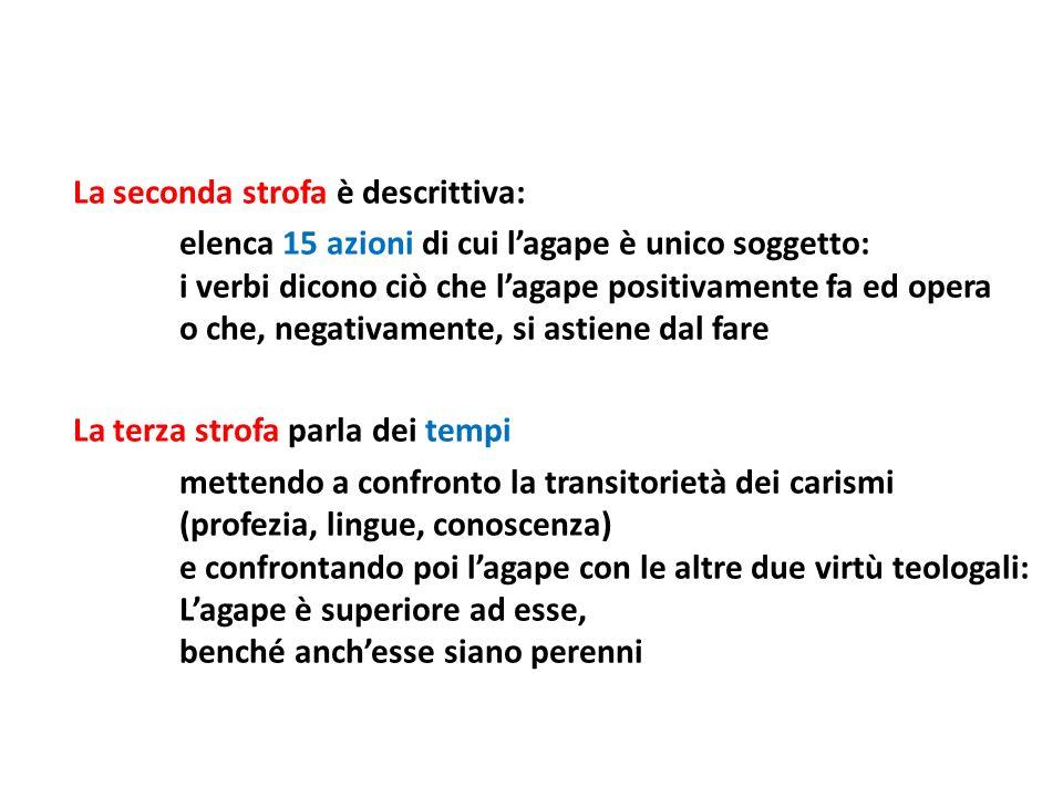 La seconda strofa è descrittiva: elenca 15 azioni di cui lagape è unico soggetto: i verbi dicono ciò che lagape positivamente fa ed opera o che, negat