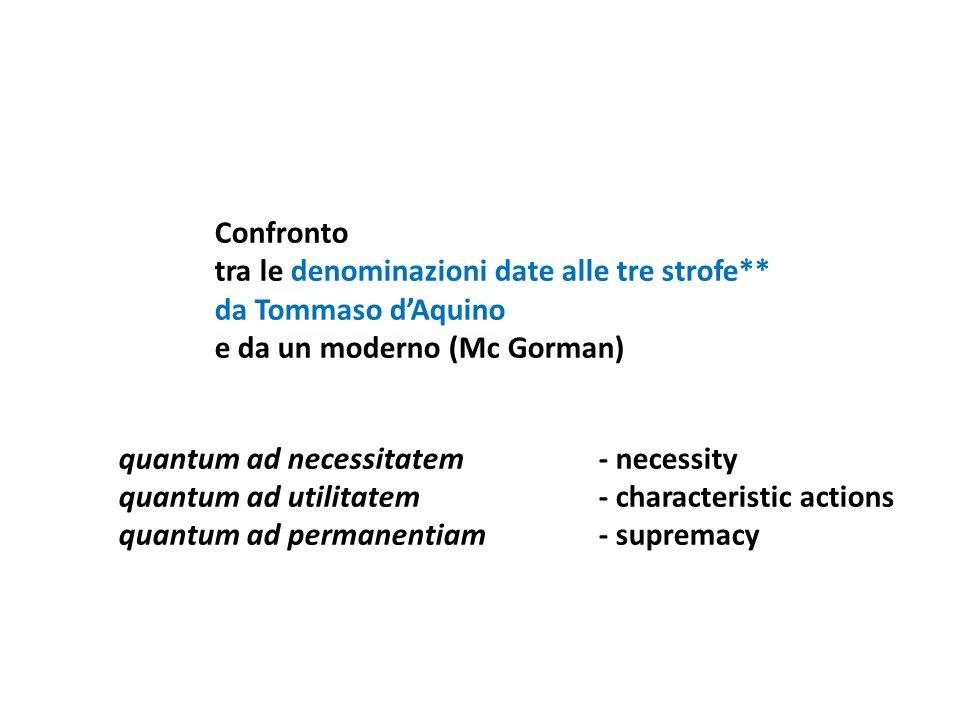 Confronto tra le denominazioni date alle tre strofe** da Tommaso dAquino e da un moderno (Mc Gorman) quantum ad necessitatem- necessity quantum ad uti