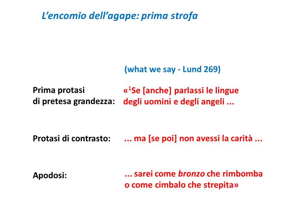 Lencomio dellagape: prima strofa Prima protasi di pretesa grandezza: Protasi di contrasto: Apodosi: « 1 Se [anche] parlassi le lingue degli uomini e d