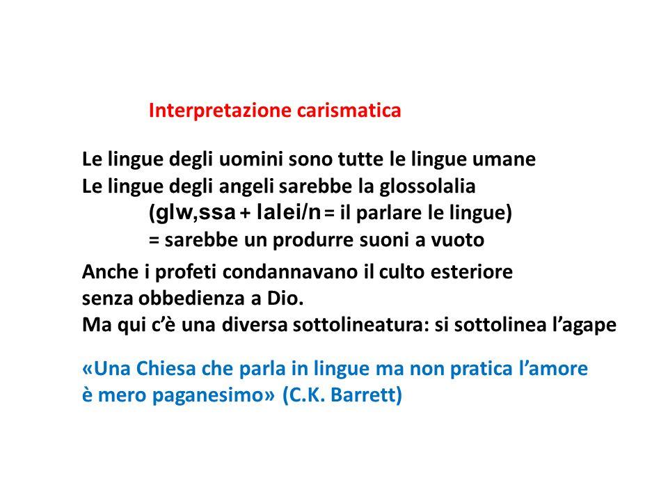 Interpretazione carismatica Le lingue degli uomini sono tutte le lingue umane Le lingue degli angeli sarebbe la glossolalia ( glw,ssa + lalei/n = il p