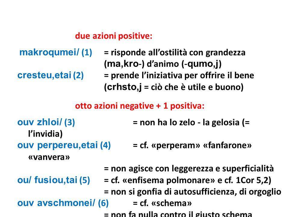 due azioni positive: makroqumei/ (1) = risponde allostilità con grandezza ( ma,kro -) danimo (- qumo,j ) cresteu,etai (2)= prende liniziativa per offr