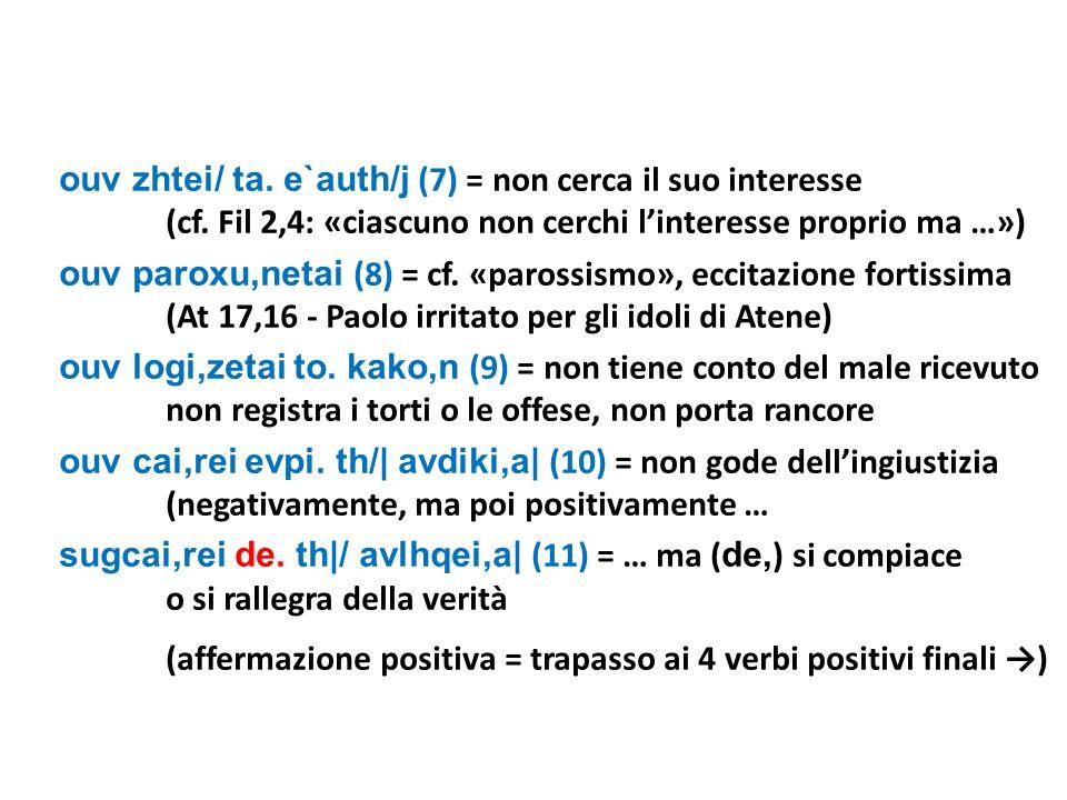 ouv zhtei/ ta. e`auth/j (7) = non cerca il suo interesse (cf. Fil 2,4: «ciascuno non cerchi linteresse proprio ma …») ouv paroxu,netai (8) = cf. «paro