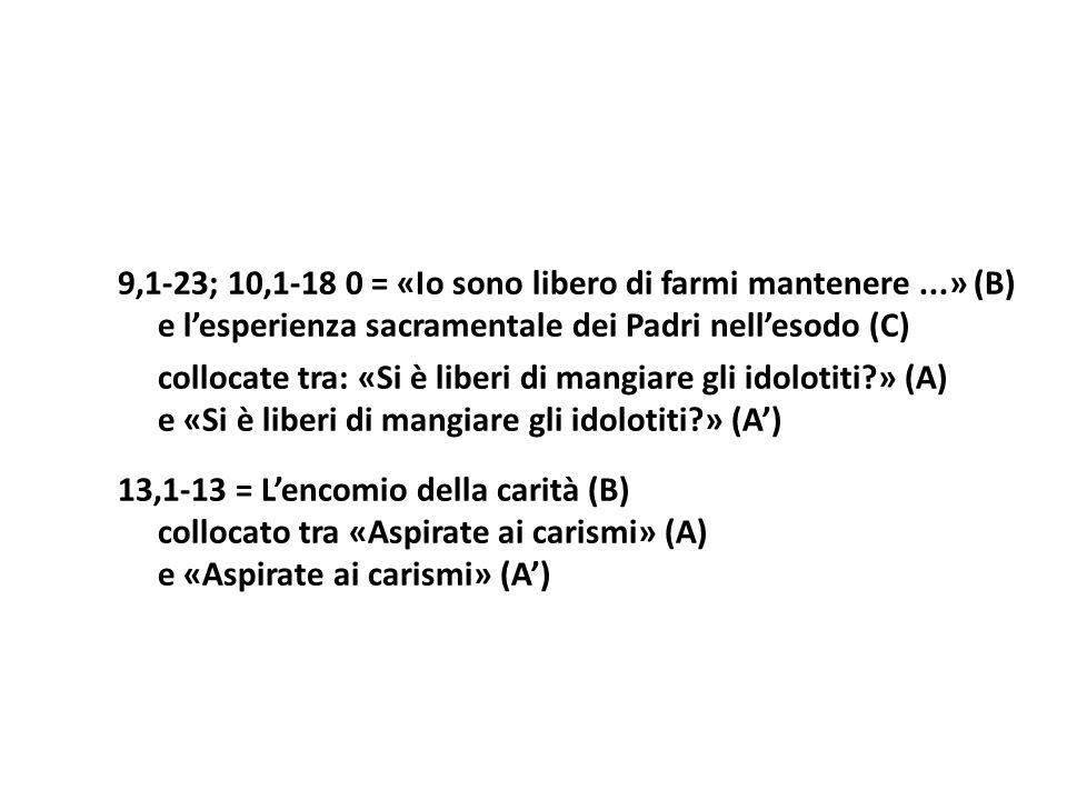 9,1-23; 10,1-18 0 = «Io sono libero di farmi mantenere...» (B) e lesperienza sacramentale dei Padri nellesodo (C) collocate tra: «Si è liberi di mangi