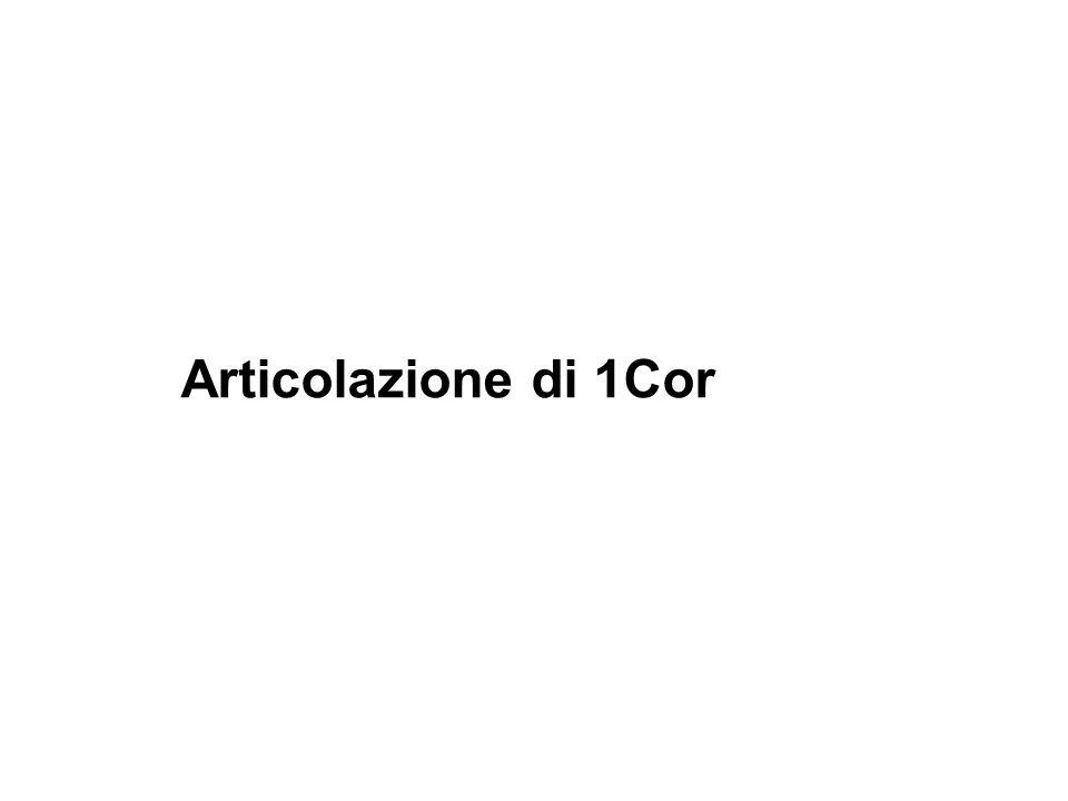 Criteri di articolazione della lettera La logica che governa 1Cor non è quella dottrinale (cf.