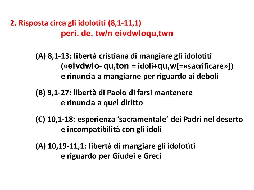 2. Risposta circa gli idolotiti (8,1-11,1) peri. de. tw/n eivdwloqu,twn (A) 8,1-13: libertà cristiana di mangiare gli idolotìti (« eivdwlo - qu,ton =
