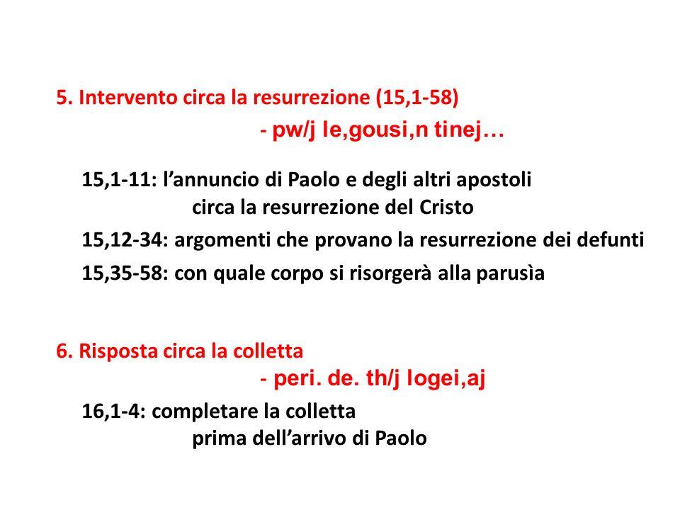 5. Intervento circa la resurrezione (15,1-58) - pw/j le,gousi,n tinej… 15,1-11: lannuncio di Paolo e degli altri apostoli circa la resurrezione del Cr