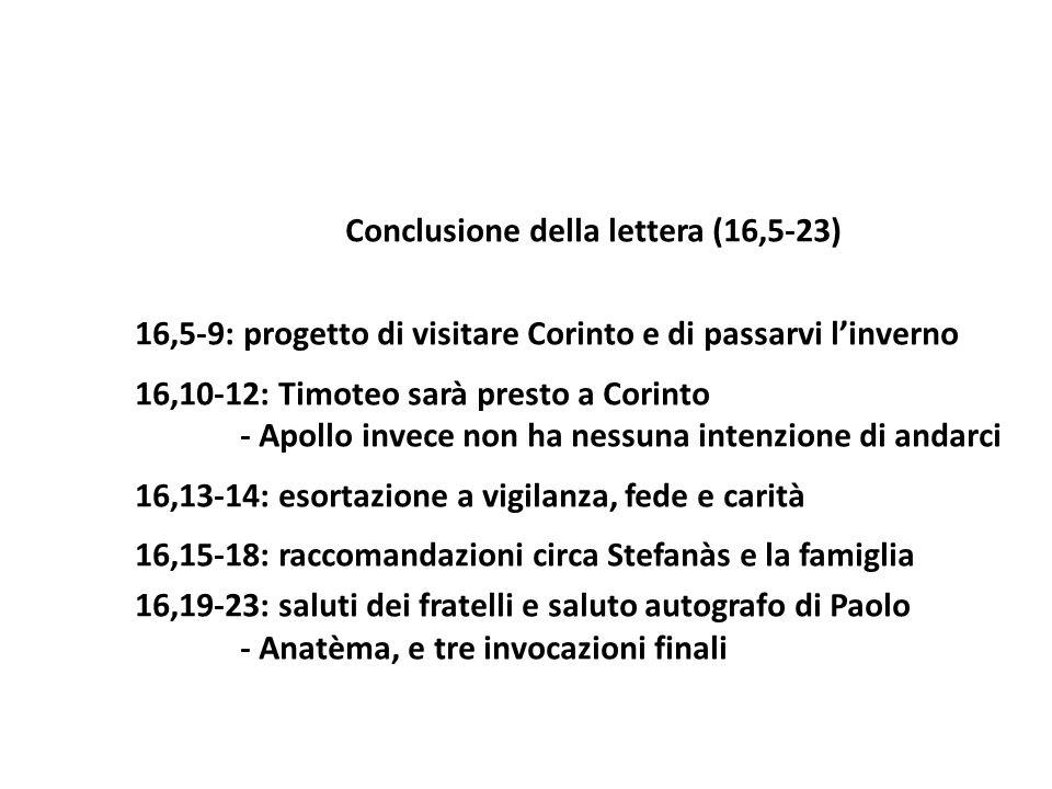 Conclusione della lettera (16,5-23) 16,5-9: progetto di visitare Corinto e di passarvi linverno 16,10-12: Timoteo sarà presto a Corinto - Apollo invec