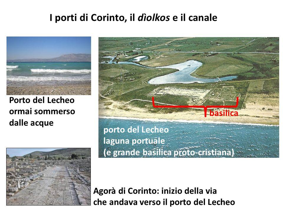 Agorà di Corinto: inizio della via che andava verso il porto del Lecheo porto del Lecheo laguna portuale (e grande basilica proto-cristiana) Porto del