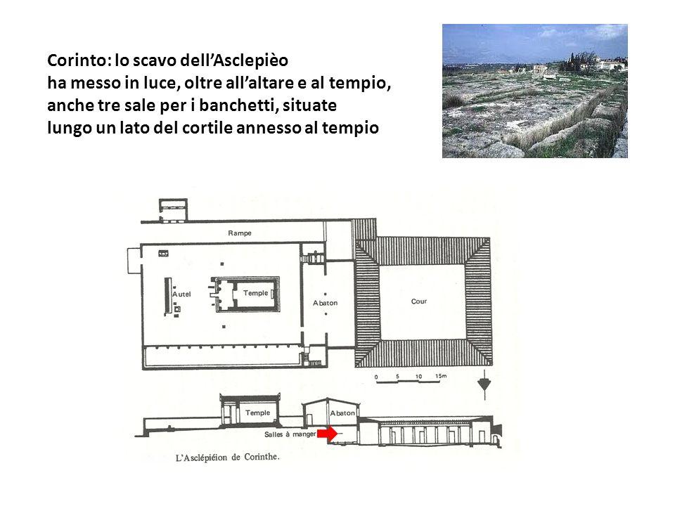 Corinto: lo scavo dellAsclepièo ha messo in luce, oltre allaltare e al tempio, anche tre sale per i banchetti, situate lungo un lato del cortile annes