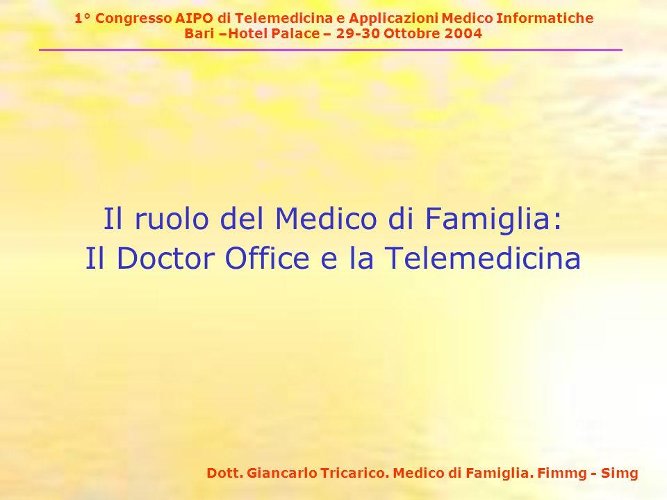 1° Congresso AIPO di Telemedicina e Applicazioni Medico Informatiche Bari –Hotel Palace – 29-30 Ottobre 2004 Il ruolo del Medico di Famiglia: Il Doctor Office e la Telemedicina Dott.