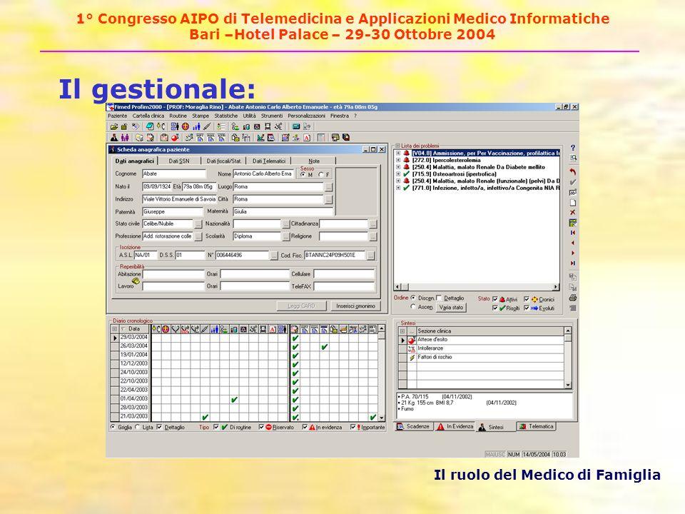 1° Congresso AIPO di Telemedicina e Applicazioni Medico Informatiche Bari –Hotel Palace – 29-30 Ottobre 2004 Il gestionale: Il ruolo del Medico di Famiglia