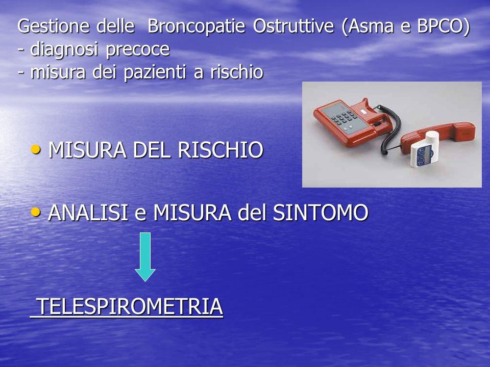 Gestione delle Broncopatie Ostruttive (Asma e BPCO) - diagnosi precoce - misura dei pazienti a rischio MISURA DEL RISCHIO MISURA DEL RISCHIO ANALISI e