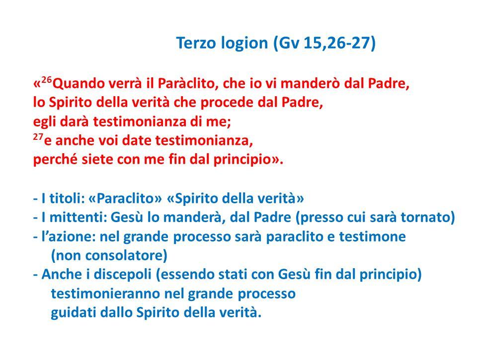 Terzo logion (Gv 15,26-27) « 26 Quando verrà il Paràclito, che io vi manderò dal Padre, lo Spirito della verità che procede dal Padre, egli darà testi