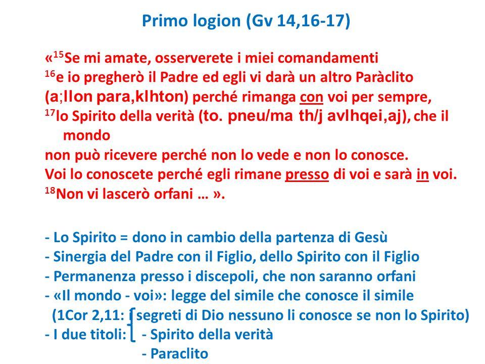 INVIO DELLO SPIRITO AI DISCEPOLI E SUOI TITOLI Gv 14,15-17 : «Paraclito»«Spirito della verità» AZIONE DELLO SPIRITO PRESSO I DISCEPOLI Gv 14,25-26: «Paraclito»«Spirito Santo» Gv 15,26-27: «Paraclito»«Spirito della verità» Gv 16,7-11: «Paraclito»- Gv 16,12-15:-«Spirito della verità» I due titoli del primo logion ricorrono nei logia che seguono («Paraclito» «Spirito Santo»)