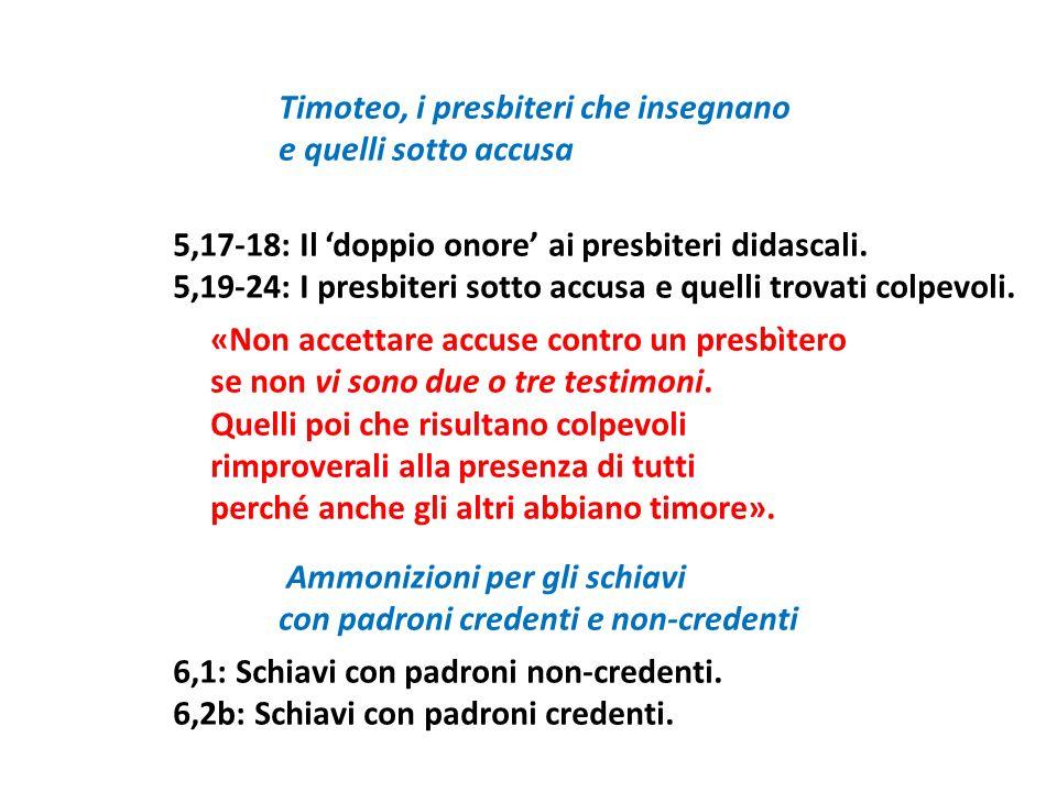 Timoteo, i presbiteri che insegnano e quelli sotto accusa 5,17-18: Il doppio onore ai presbiteri didascali. 5,19-24: I presbiteri sotto accusa e quell