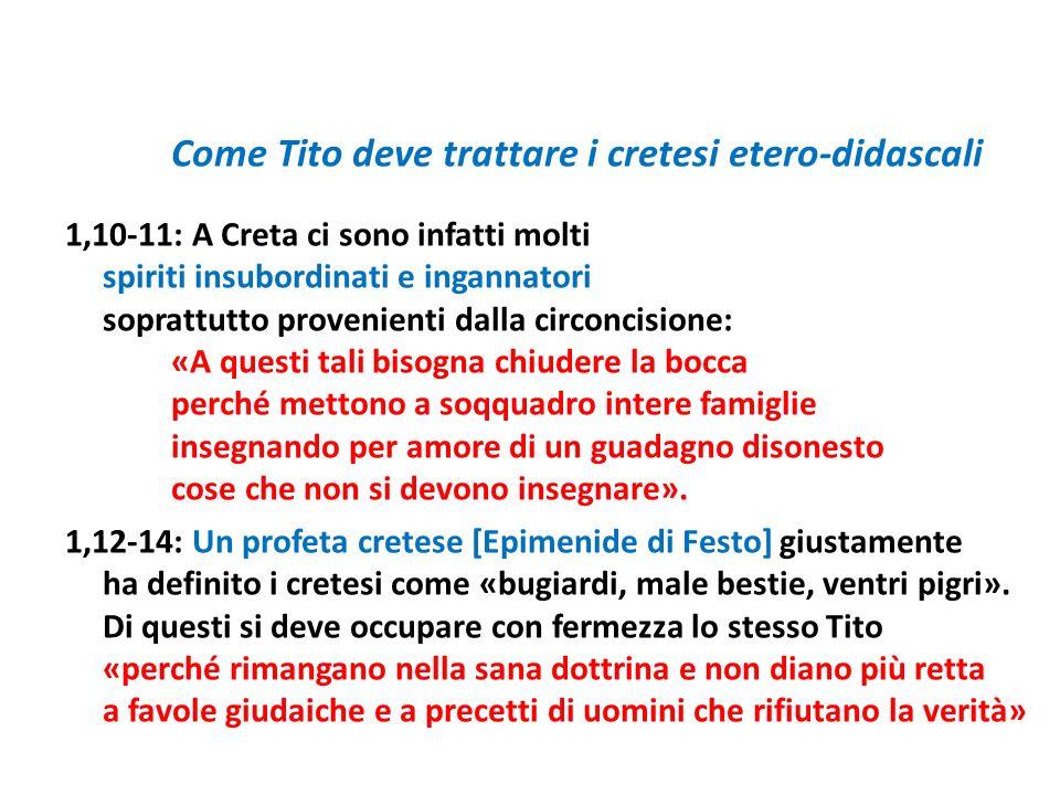 Come Tito deve trattare i cretesi etero-didascali 1,10-11: A Creta ci sono infatti molti spiriti insubordinati e ingannatori soprattutto provenienti d