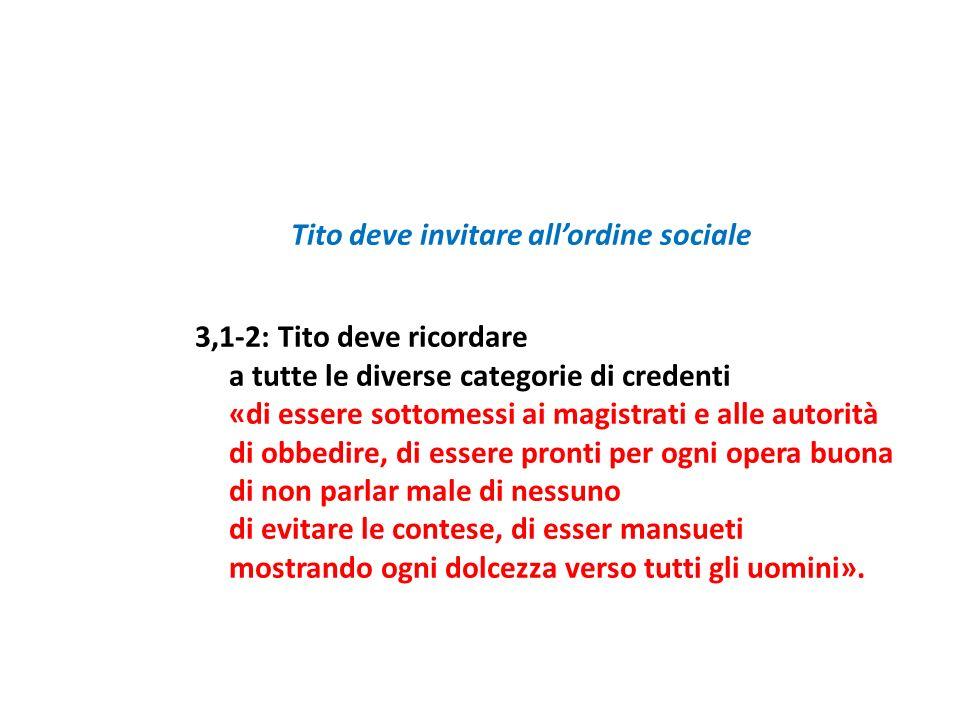 Tito deve invitare allordine sociale 3,1-2: Tito deve ricordare a tutte le diverse categorie di credenti «di essere sottomessi ai magistrati e alle au