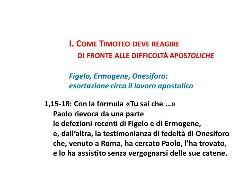 I. C OME T IMOTEO DEVE REAGIRE DI FRONTE ALLE DIFFICOLTÀ APOSTOLICHE Figelo, Ermogene, Onesiforo: esortazione circa il lavoro apostolico 1,15-18: Con
