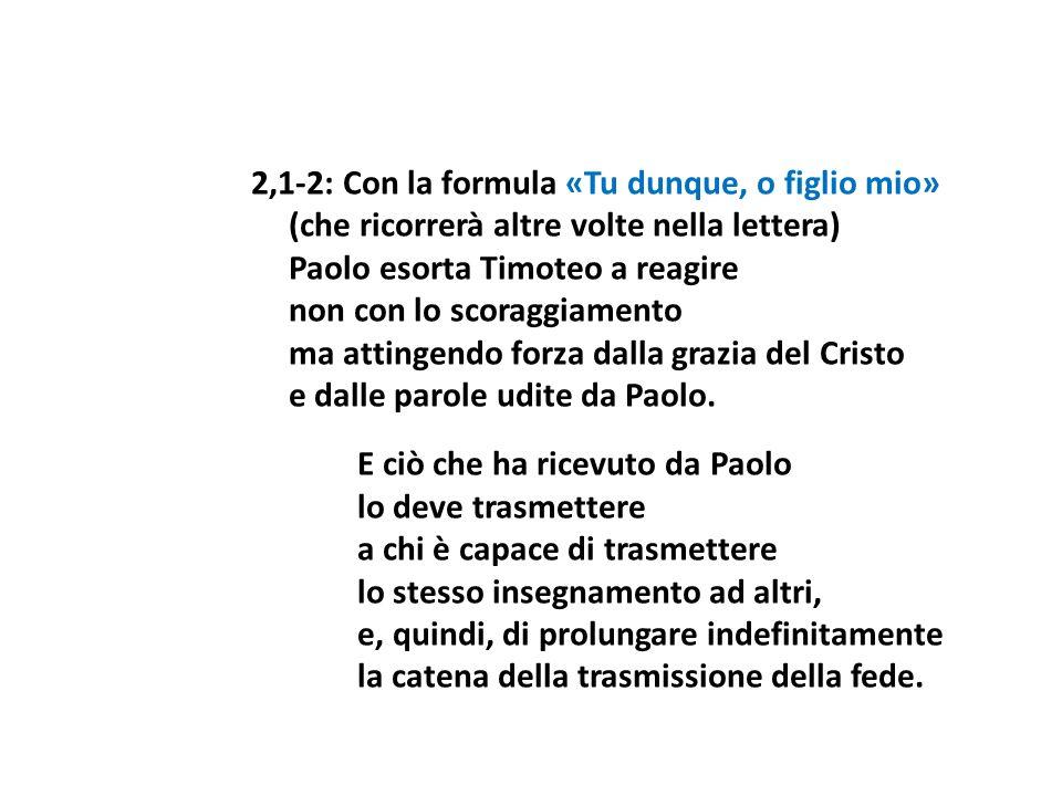 2,1-2: Con la formula «Tu dunque, o figlio mio» (che ricorrerà altre volte nella lettera) Paolo esorta Timoteo a reagire non con lo scoraggiamento ma