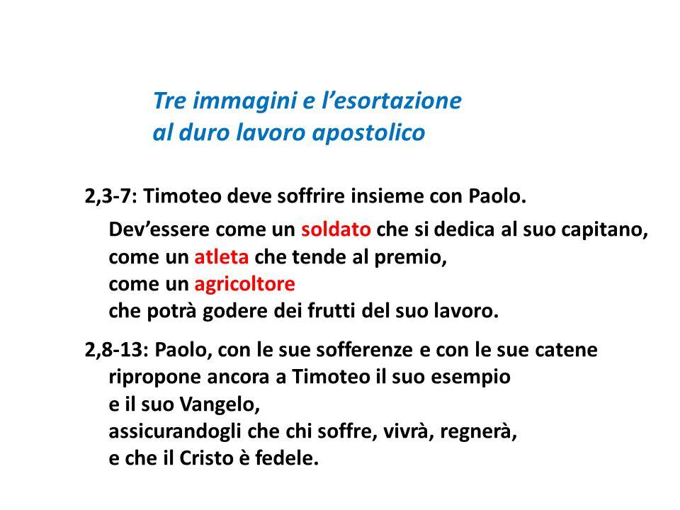 Tre immagini e lesortazione al duro lavoro apostolico 2,3-7: Timoteo deve soffrire insieme con Paolo. Devessere come un soldato che si dedica al suo c