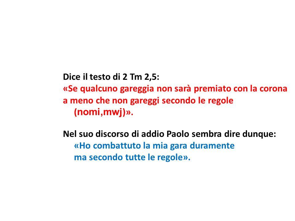Dice il testo di 2 Tm 2,5: «Se qualcuno gareggia non sarà premiato con la corona a meno che non gareggi secondo le regole ( nomi,mwj )». Nel suo disco
