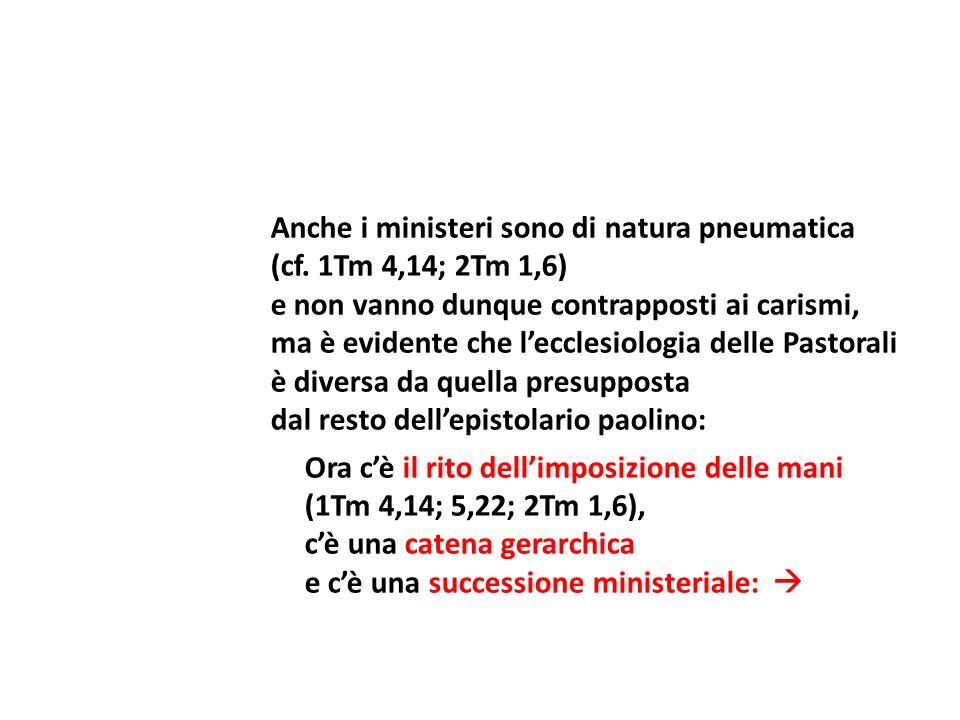 Anche i ministeri sono di natura pneumatica (cf. 1Tm 4,14; 2Tm 1,6) e non vanno dunque contrapposti ai carismi, ma è evidente che lecclesiologia delle