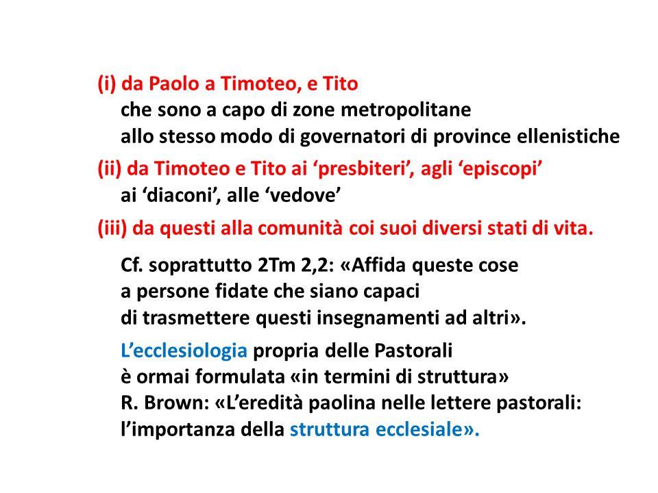 (i) da Paolo a Timoteo, e Tito che sono a capo di zone metropolitane allo stesso modo di governatori di province ellenistiche (ii) da Timoteo e Tito a