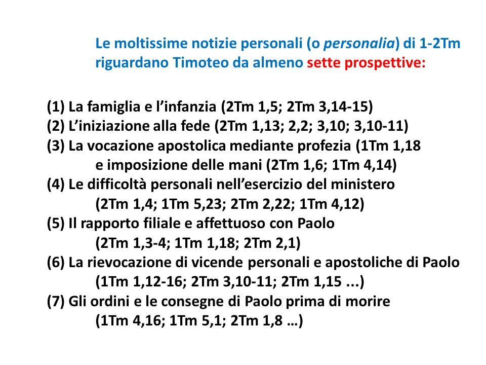 Le moltissime notizie personali (o personalia) di 1-2Tm riguardano Timoteo da almeno sette prospettive: (1) La famiglia e linfanzia (2Tm 1,5; 2Tm 3,14