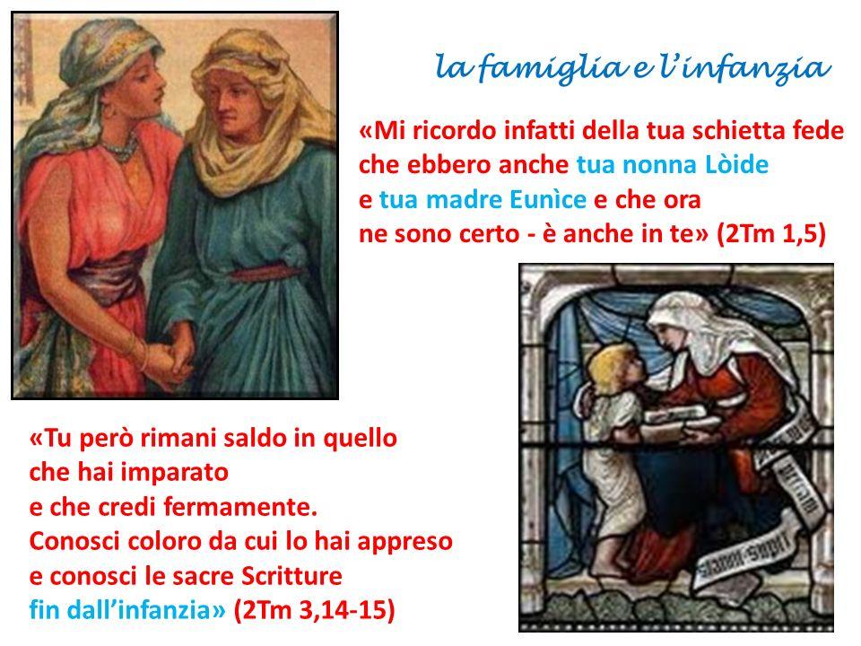 «Mi ricordo infatti della tua schietta fede che ebbero anche tua nonna Lòide e tua madre Eunìce e che ora ne sono certo - è anche in te» (2Tm 1,5) «Tu