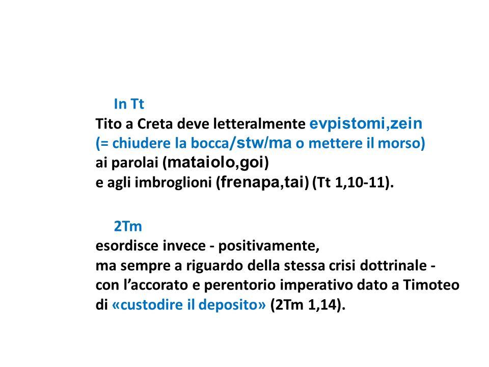 In Tt Tito a Creta deve letteralmente evpistomi,zein (= chiudere la bocca/ stw/ma o mettere il morso) ai parolai ( mataiolo,goi ) e agli imbroglioni (