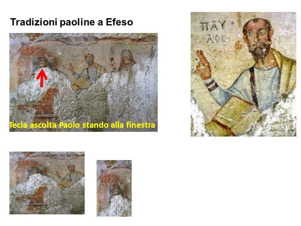 Tradizioni paoline a Efeso Tecla ascolta Paolo stando alla finestra