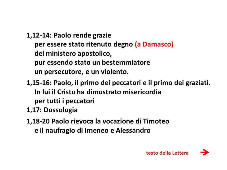 testo della Lettera 1,12-14: Paolo rende grazie per essere stato ritenuto degno (a Damasco) del ministero apostolico, pur essendo stato un bestemmiato