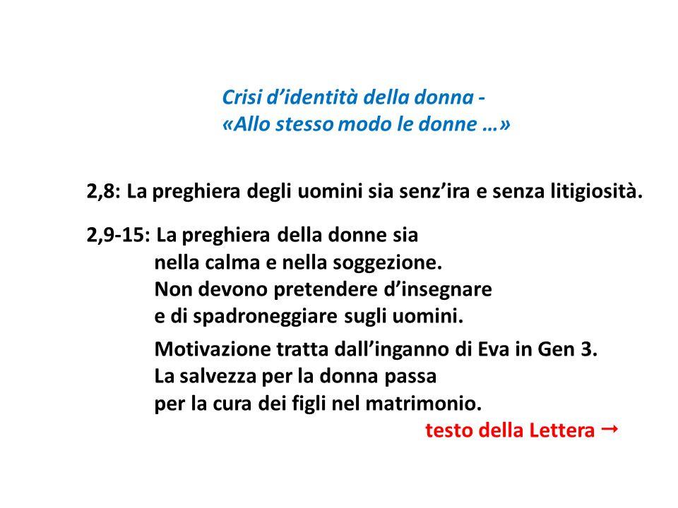 Crisi didentità della donna - «Allo stesso modo le donne …» 2,8: La preghiera degli uomini sia senzira e senza litigiosità. 2,9-15: La preghiera della