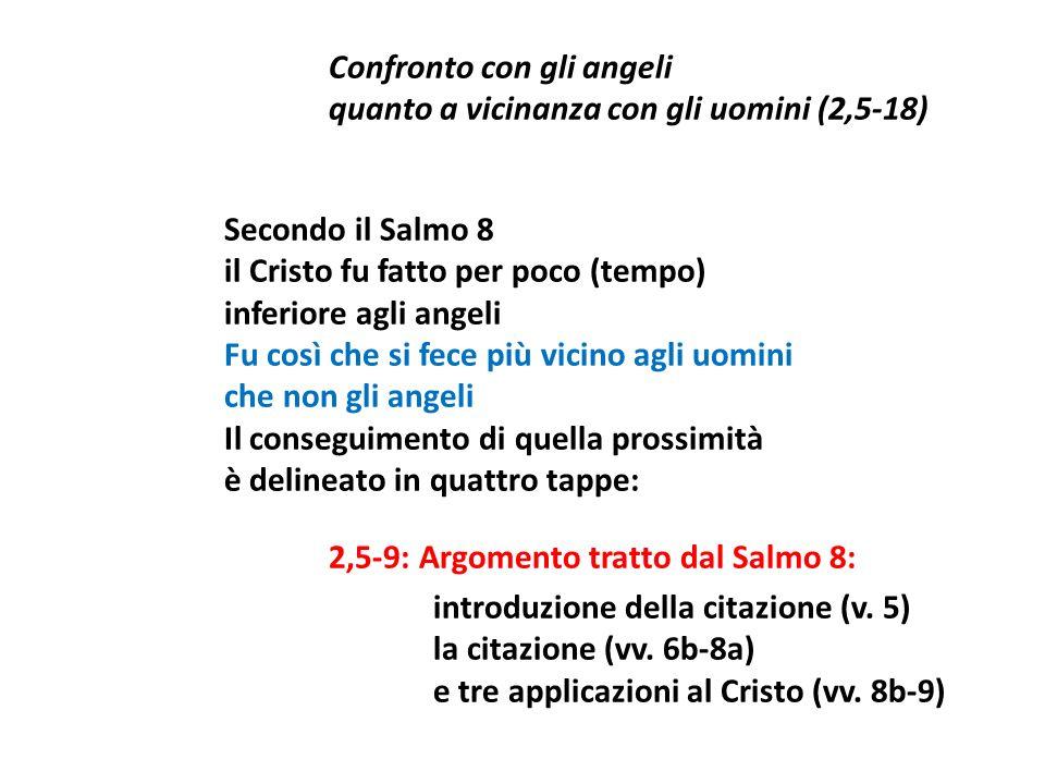 Confronto con gli angeli quanto a vicinanza con gli uomini (2,5-18) Secondo il Salmo 8 il Cristo fu fatto per poco (tempo) inferiore agli angeli Fu co