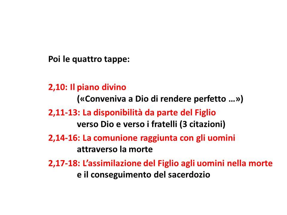 Poi le quattro tappe: 2,10: Il piano divino («Conveniva a Dio di rendere perfetto …») 2,11-13: La disponibilità da parte del Figlio verso Dio e verso