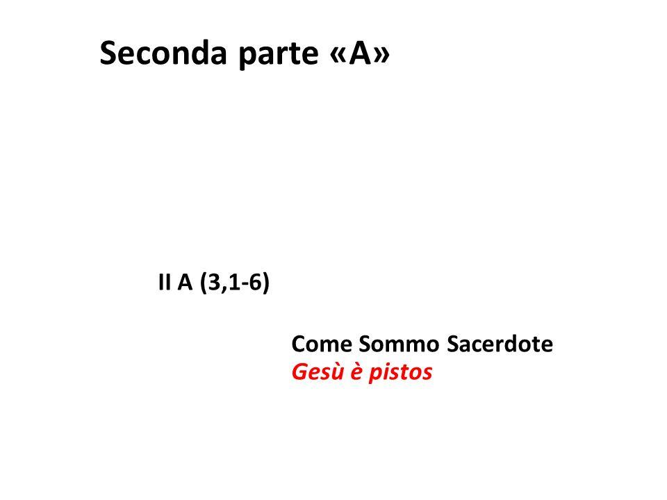 Seconda parte «A» II A (3,1-6) Come Sommo Sacerdote Gesù è pistos