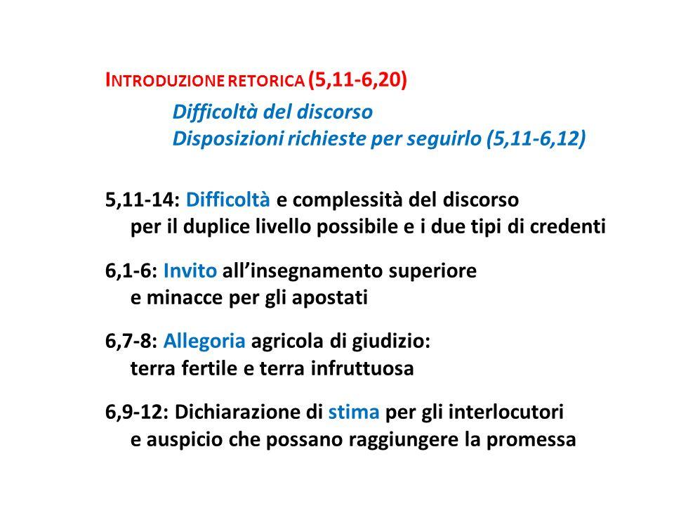 I NTRODUZIONE RETORICA (5,11-6,20) Difficoltà del discorso Disposizioni richieste per seguirlo (5,11-6,12) 5,11-14: Difficoltà e complessità del disco