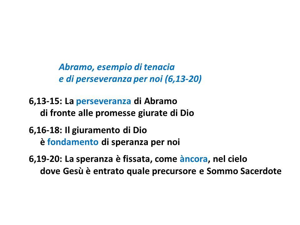 Abramo, esempio di tenacia e di perseveranza per noi (6,13-20) 6,13-15: La perseveranza di Abramo di fronte alle promesse giurate di Dio 6,16-18: Il g