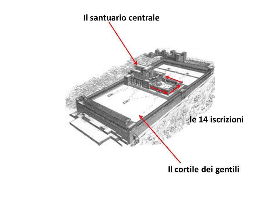Il cortile dei gentili Il santuario centrale le 14 iscrizioni