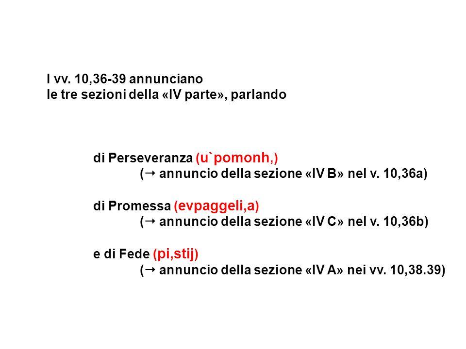 I vv. 10,36-39 annunciano le tre sezioni della «IV parte», parlando di Perseveranza ( u`pomonh,) ( annuncio della sezione «IV B» nel v. 10,36a) di Pro