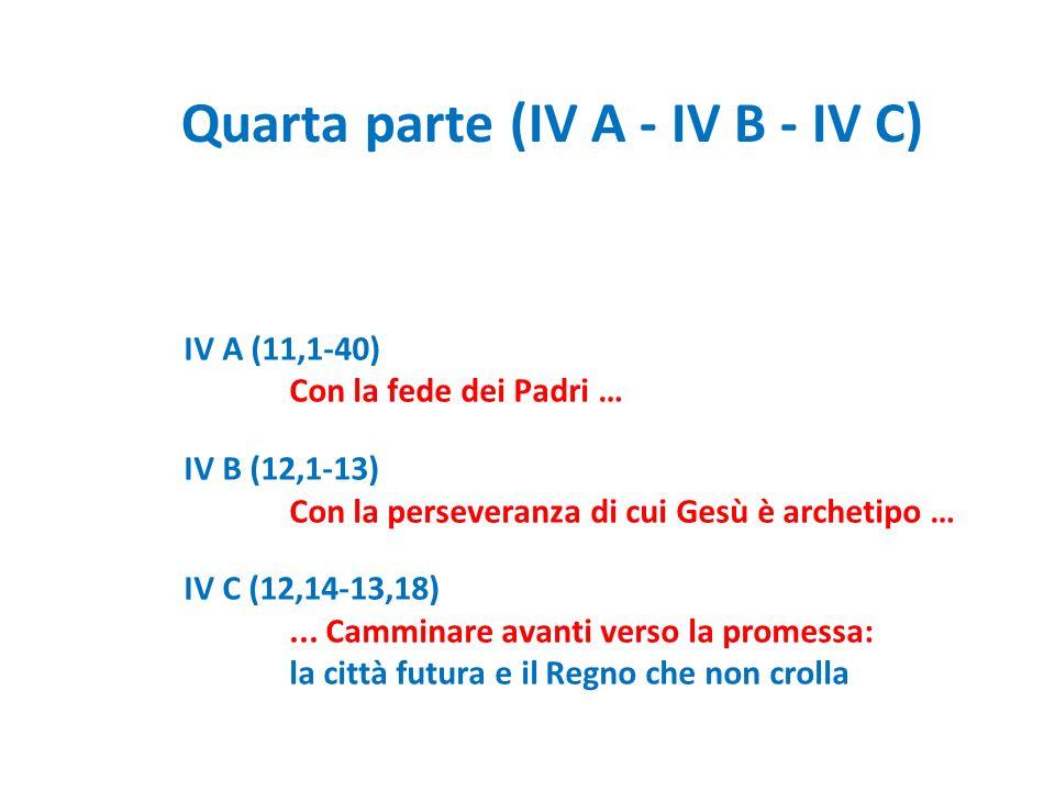 Quarta parte (IV A - IV B - IV C) IV A (11,1-40) Con la fede dei Padri … IV B (12,1-13) Con la perseveranza di cui Gesù è archetipo … IV C (12,14-13,1