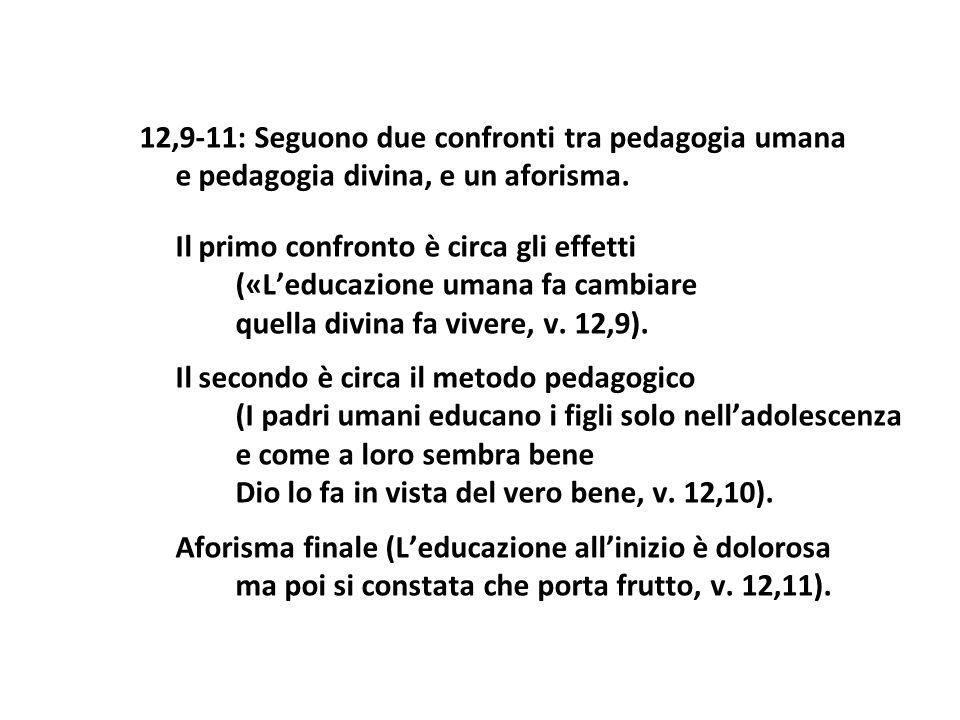 12,9-11: Seguono due confronti tra pedagogia umana e pedagogia divina, e un aforisma. Il primo confronto è circa gli effetti («Leducazione umana fa ca