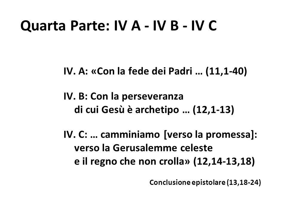 Quarta Parte: IV A - IV B - IV C IV. A: «Con la fede dei Padri … (11,1-40) IV. B: Con la perseveranza di cui Gesù è archetipo … (12,1-13) IV. C: … cam